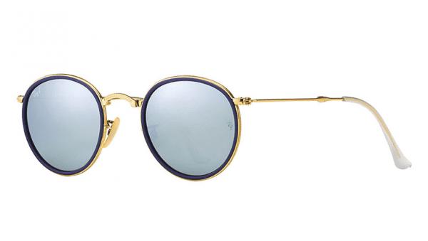 Ray Ban RB 3517 001/30 Folding Round Metal Sunglasses-1