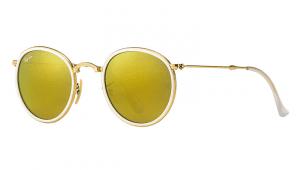 Ray Ban RB 3517 001/93 Folding Round Metal Sunglasses-1