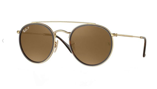 RB 3647 N 001 57 Round Double Bridge Sunglasses.